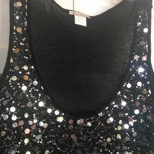 Tops - Black knit sequined tank top
